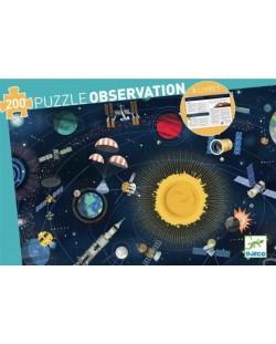 Пъзел за наблюдателност Djeco от 200 части - Космос, с книжка