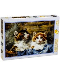 Пъзел Gold Puzzle от 500 части - Две котета в кошница