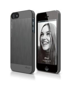 Elago S5 Outfit Matrix Aluminum + HD Clear Film за iPhone 5 -  тъмносив