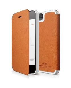 Elago S5 Leather Flip Case за iPhone 5 -  оранжев