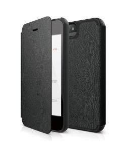 Elago S5 Leather Flip Case за iPhone 5 -  черен