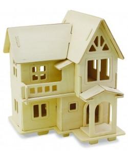 Дървен 3D пъзел Robo Time от 33 части – Модел 4 – Европейска къща
