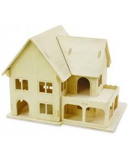 Дървен 3D пъзел Robo Time от 27 части - Къща 3 – Двуетажен дом