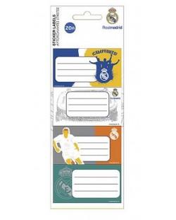 Комплект ученически етикети FC Real Madrid - 20 броя