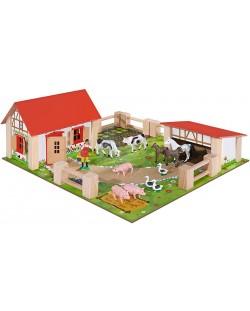 Дървен комплект Eichhorn - Ферма, 21 части