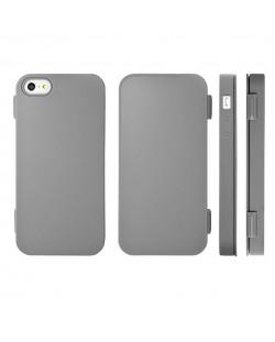 FitCase TPU Flip Case  силиконов кейс тип портфейл за iPhone 5 (сив)