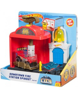 Игрален комплект Hot Wheels City Downtown - Fire Station Spinout