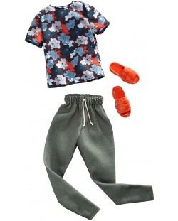 Дрехи за кукла Mattel Barbie - Тениска с панталон и чехли, за Кен