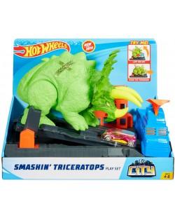 Игрален комплект Hot Wheels City - Triceratops