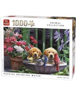 Пъзел King от 1000 части - Кученца пият вода, Кевин Даниел
