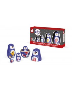 Дървена играчка Janod - Матрьошка, пингвин