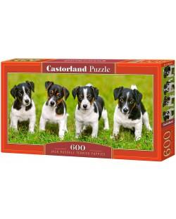 Панорамен пъзел Castorland от 600 части - Кученца Джак Ръсел Териер