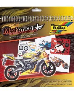 Книжка за рисуване със стикери и шаблони Folia - Мотори