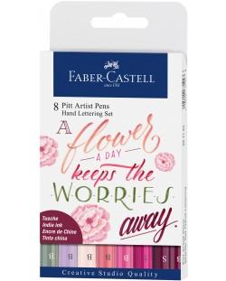 Комплект калиграфски маркери с четка Faber-Castell - 8 цвята, розови