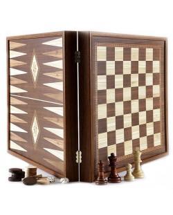 Комплект шах и табла Manopoulos - Цвят орех, 41 x 41 cm