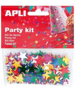 Комплект конфети Apli - Звезди, разноцветни, 15 mm