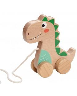 Дървена играчка за дърпане Lelin - Добрият динозавър