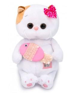 Плюшена играчка Budi Basa - Коте Ли-Ли бебе, с розова рибка, 20 cm