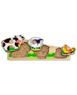 Дървен пъзел Lucy&Leo - Животните на село, с дръжки