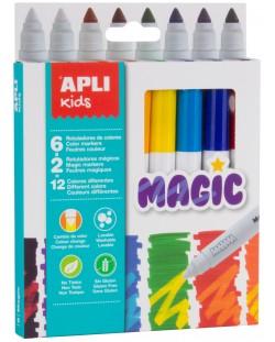 Комплект флумастери Apli - Магически, 8 броя, 12 цвята
