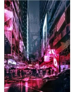 Метален постер Displate - Cyberpunk City