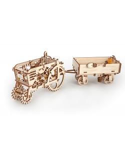 Дървен 3D пъзел Ugears от 165 части - Трактор с ремарке