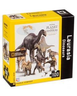 Мини пъзел New York Puzzle от 100 части - Динозаври, Лавразия