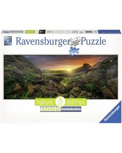 Панорамен пъзел Ravensburger от 1000 части - Слънце над Исландия