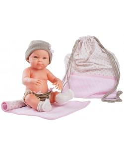 Кукла-бебе Paola Reina Mini Pikolines - С розова чанта и постелка, момиченце, 32 cm