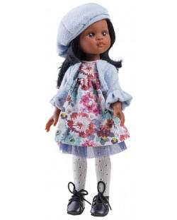 Комплект дрехи за кукла Paola Reina - Плетена синя жилетка, 32 cm