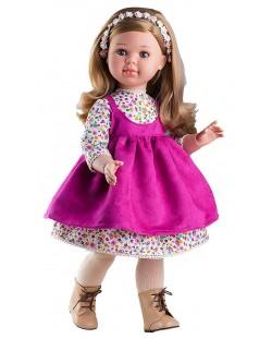 Кукла Paola Reina Las Reinas - Алма, с бяла рокля на цветя и диадема, 60 cm