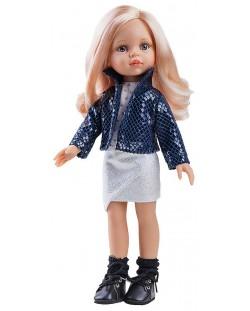 Комплект дрехи за кукла Paola Reina - Късо синьо яке и блузка на сърчица, 32 cm