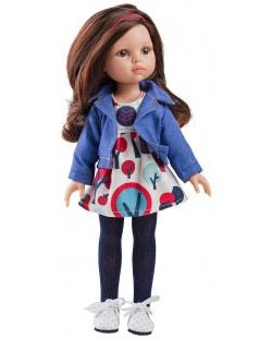 Комплект дрехи за кукла Paola Reina - Синьо дънково яке, 32 cm