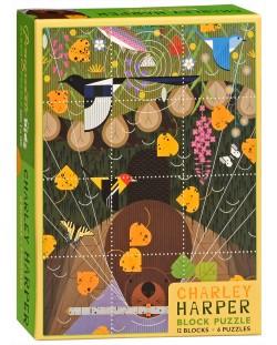 Пъзелни кубчета Pomegranate от 12 части - Птици, Чарли Харпър