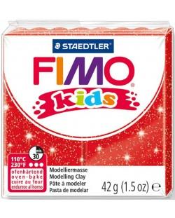 Полимерна глина Staedtler Fimo Kids - блестящ червен цвят