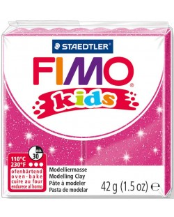 Полимерна глина Staedtler Fimo Kids - блестящ розов цвят