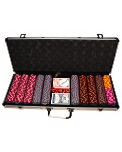 Алуминиево куфарче с 500 Caeser Preimum покер чипа