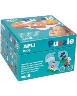 Детски пъзел Apli - Спорта и неговите инструменти, 36 части