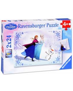 Пъзел Ravensburger от 2 х 24 части - Замръзнало кралство - Сестри завинаги