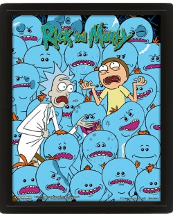 3D плакат с рамка Pyramid - Rick and Morty: Mr. Meeseeks