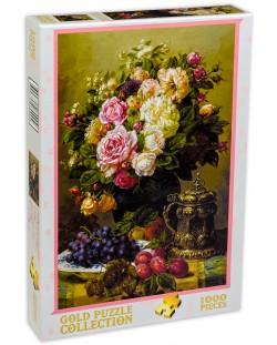 Пъзел Gold Puzzle от 1000 части - Рози и чиния с грозде и сливи
