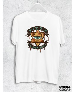 Тениска RockaCoca Pizza Iluminati, бяла, размер M