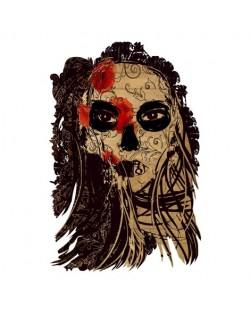 Тениска RockaCoca Dead Mask, бяла, размер M