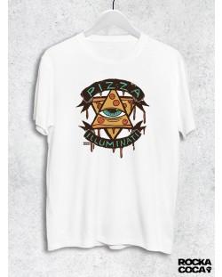 Тениска RockaCoca Pizza Iluminati, бяла, размер XL