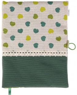 Рокля за книга (Текстилна подвързия с копче): Зелени сърца, зелена основа, дантела