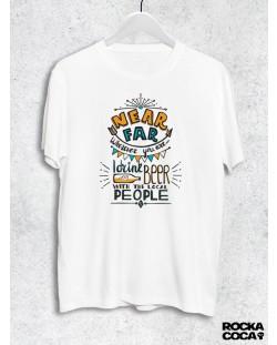 Тениска RockaCoca Near Far, бяла, размер XL