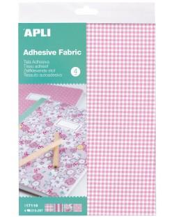 Комплект листа Apli - Самозалепващ плат, 4 дизайна, в розово