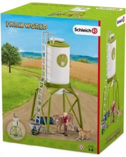 Комплект фигурки Schleich - Силоз за зърно с животни