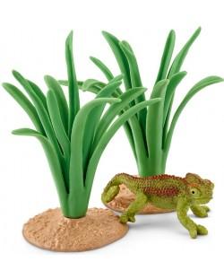 Комплект фигурки Schleich - Хамелеон в тръстиката