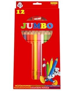 Цветни моливи с острилка Sense – Jumbo, 12 броя